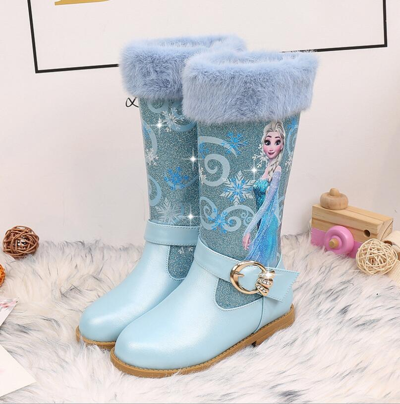 Elsa Prinses Winter Kids Boots New Girls High Boots Girl Princess Snow Boots Plush Warm Velvet High-top Leather Boots Shoes