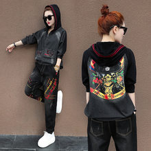 Runway TWO PIECE SET Hoodie Denim Jeans Jacket Suit Women Tracksuits Vintage Ulzzang Outfits Harakuju Luxury Designer Sweatsuits(China)