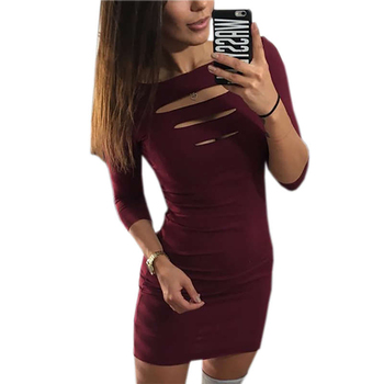 mini dress chest opening seven-point sleeve dress 1