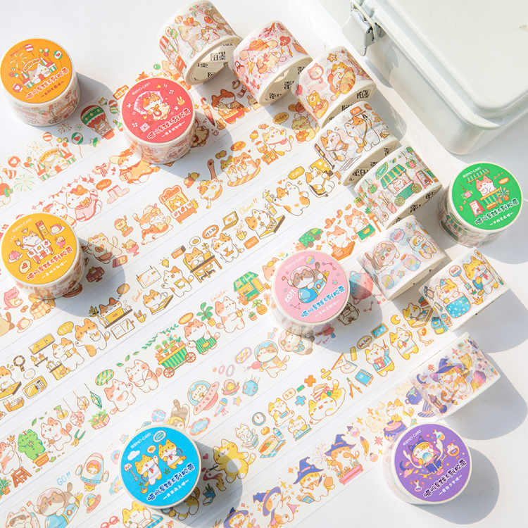 2 Rolls Kawaii Japanese Masking Tape Cartoon Diary Album DIY Decorative Stickers