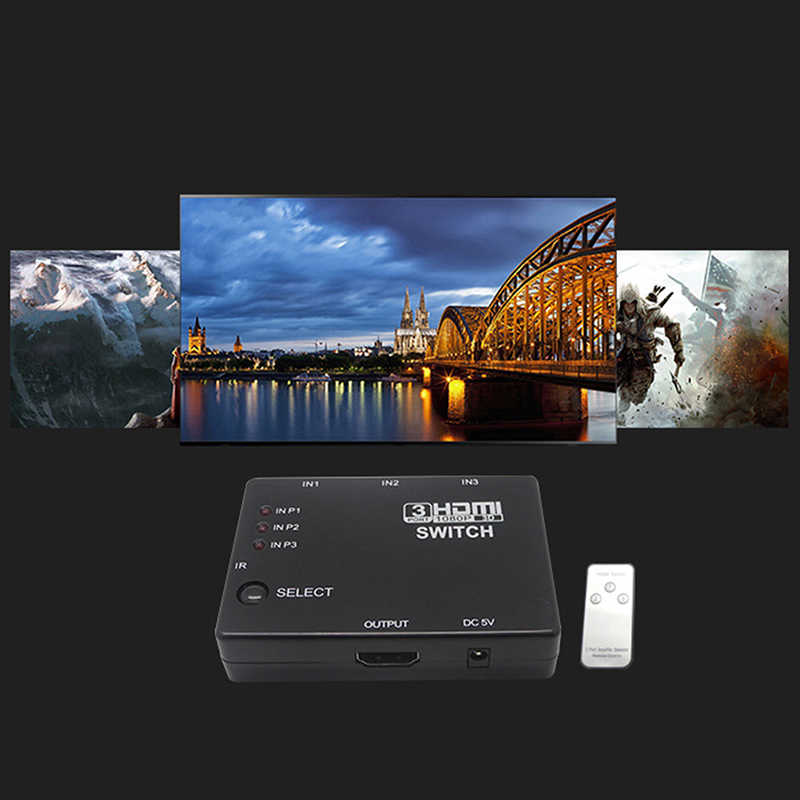 Mini 3 Port HDM1.4a Port HDMI Switch Switcher Full HD 1080P Vedio Splitter Amplifier dengan Remote untuk Xbox 360 DVD PS3