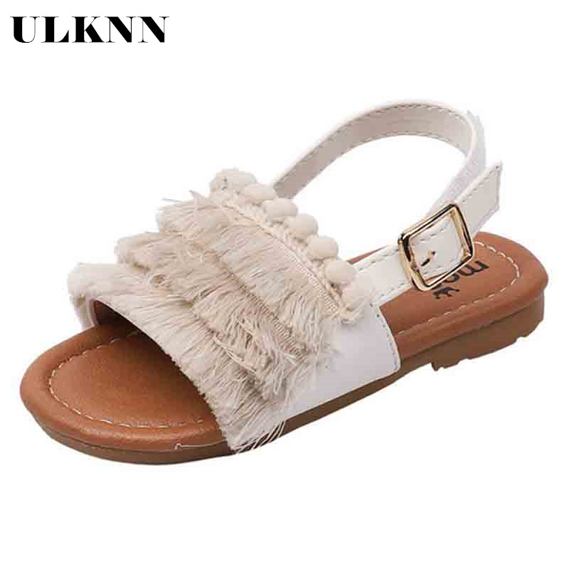 ULKNN 2020 Summer Girls Shoes New Smmer Fashion Kids Girls Sandals Children Tassel Princess  Baby Leather Girl Shoes