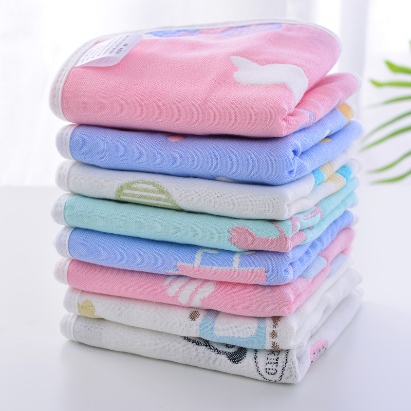 Baby Bib 6-layer Cotton Gauze Treasure Hand Towel Cotton Skin-friendly Face Towel Factory Wholesale Gauze Square Towel