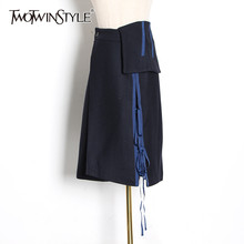 TWOTWINSTYLE Patchwork Lace Up Skirts For Female High Waist Asymmtrical Hit Color Midi Women's Skirt Fashion 2019 Clothing Tide(China)