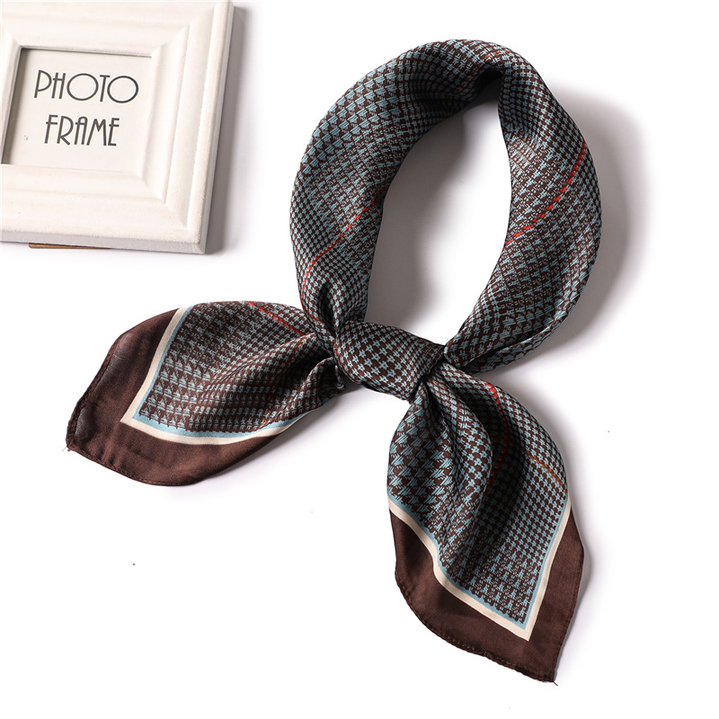 Retro Plaid Scarf Silk Square Hair Band Office Neck Scarves For Women Print Foulard Shawls And Wraps Bandana Kerchief