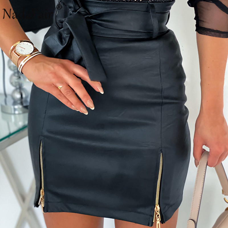 Nadafair Leather Skirts Club Belt Zipper Sexy Bodycon Wrap Black White Khaki High Waist Pu Mini Skirts Women
