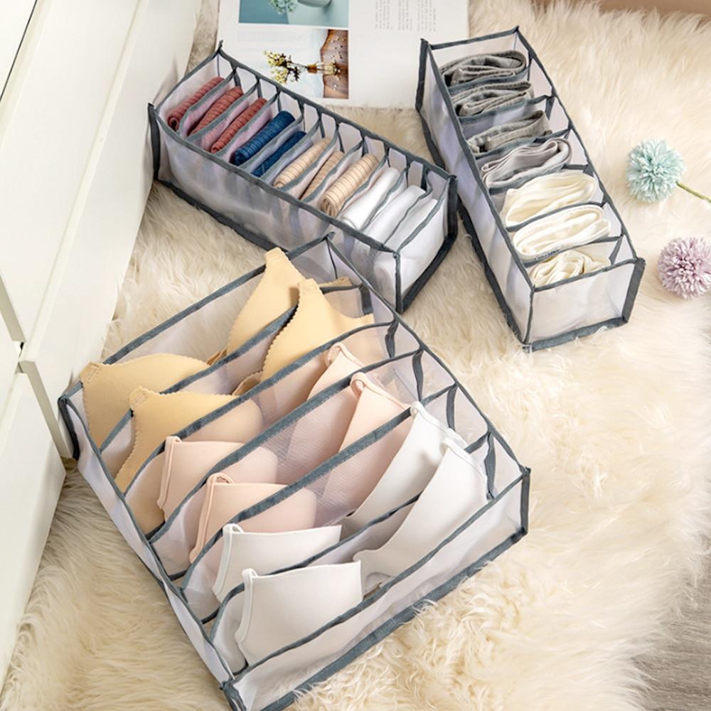 Dormitory Closet Organizer For Socks Home Separated Underwear Storage Box 7 Grids Bra Organizer Foldable Drawer Organizer 2020 1