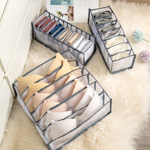 Dormitory Closet Organizer For Socks Home Separated Underwear Storage Box 7 Grids Bra Organizer Foldable Drawer Organizer 2020 1