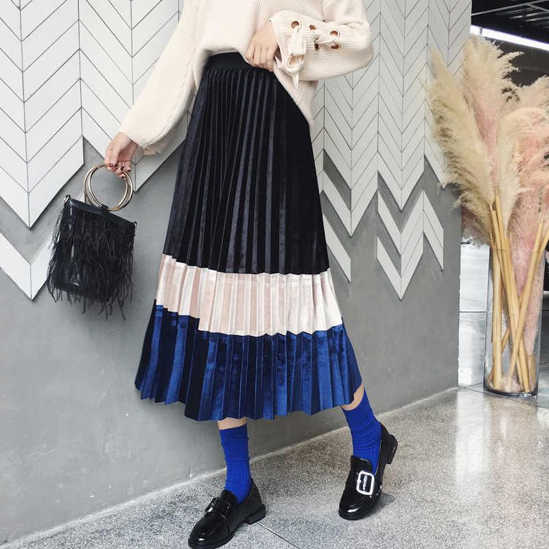 TVVOVVIN Fluwelen Geplooide Rok Vrouwen Koreaanse Stijl Wilde Casual Mode Dames Rokken Herfst En Winter 2019 Nieuwe Rokken Vrouwelijke F088
