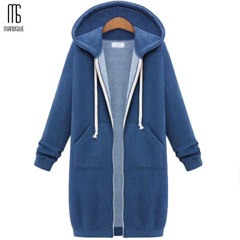 Manoswe Autumn Winter Female Long Cotton Coat Long Sleeve Hooded Women Overcoat Solid Color Zipper Oversized Code 5xl