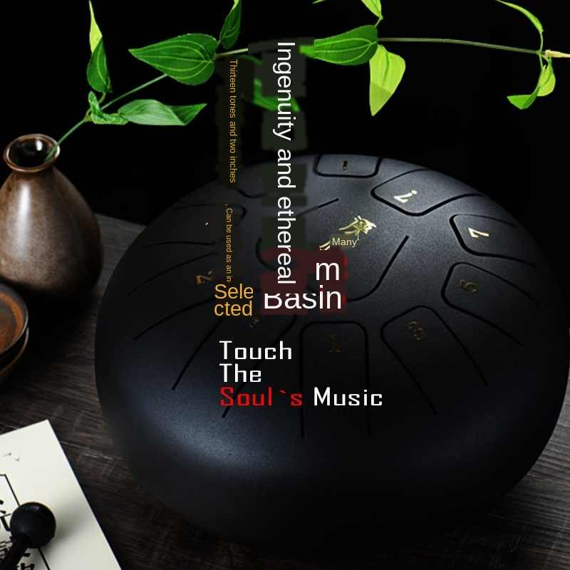 Qiongjie Ethereal Drum Hand Pan Drum Steel Lotus Drum Brahman Drum Hanging Drum with Drumstick Bag Percussion Instrument for Meditation Yoga Sound Healing,8tones,6Inches