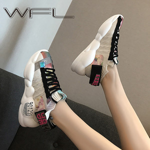 Image 1 - WFL Women Platform Chunky Sneakers Daddy Female Fashion Breathable Shoes Wild Thick Sole Shoes Casual Vulcanize Shoes Sports
