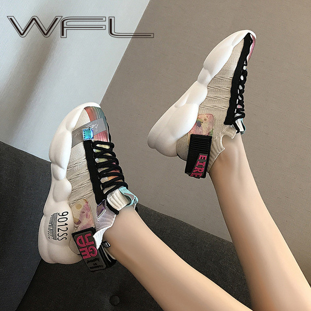 WFL Women Platform Chunky Sneakers Daddy Female Fashion Breathable Shoes Wild Thick Sole Shoes Casual Vulcanize Shoes Sports