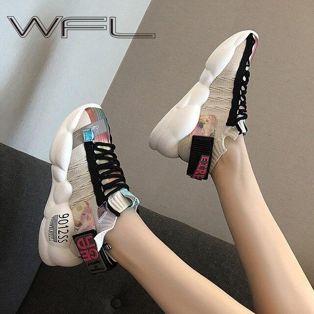 WFL النساء منصة أحذية رياضية مكتنزة بابا الإناث موضة أحذية تنفس البرية سميكة وحيد أحذية غير رسمية فلكنيز الأحذية الرياضية
