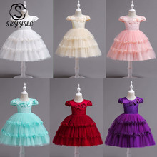 Skyyue Girl Princess Dress Pink Lace Appliquie Tulle Flower Girl Dresses for Wedding O-neck Embroidery Communion Gowns 2019 839 skyyue girl princess dress appliquie flower tulle flower girl dresses for wedding o neck crystal communion gowns 2019 5002