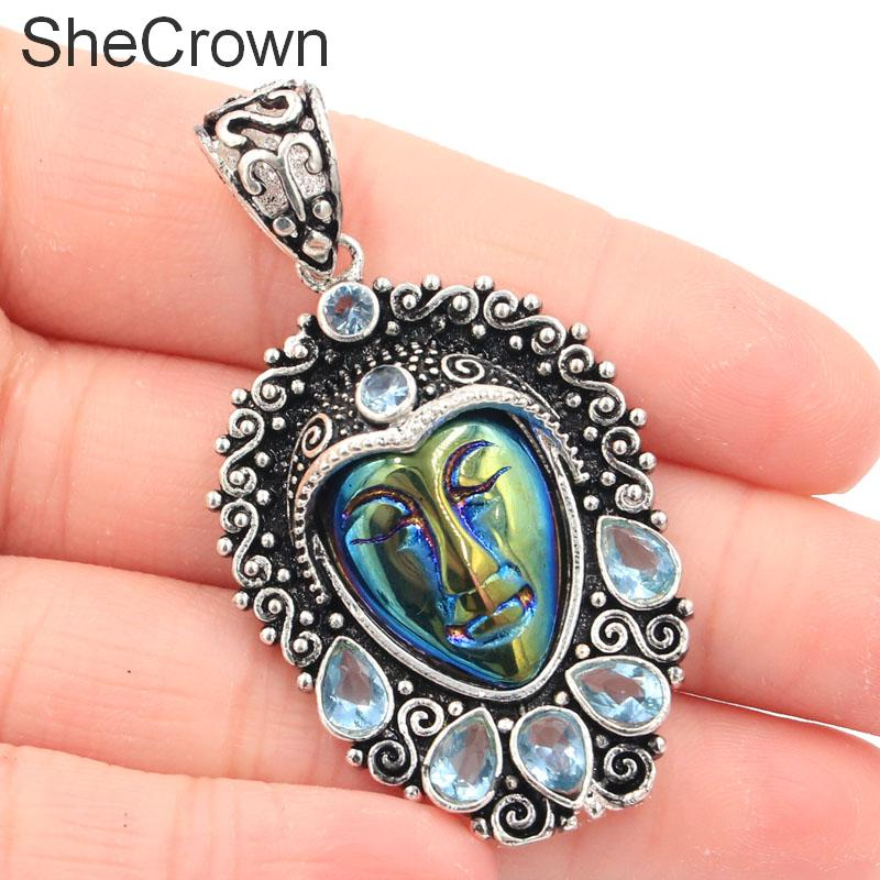53x29mmAwesome Long Rainbow Titanium Goddess Face,Sky Blue Topaz Gift Silver Pendant