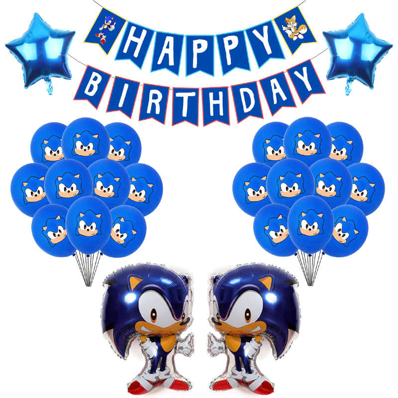 Sonic Latex Ballonnen De Egel Folie Ballons Kids Super Hero Sega Game Fans Anime Thema Party Happy Brithday Banner Decoratie