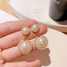 Baroque Luxury Pearl Earrings for Women Korean Sweet Big Round Gold Color Metal Dangle Earrings Fashion Wedding Party Jewelry fashion sweet shell round dangle earrings