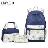 IMYOK school bags backpack 3pcs/set vintage flowers girl school bag kids floral canvas backpack children pen pencil bag girls