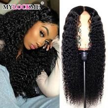 Wigs Lace Closure Deep-Wave Hairline Human-Hair Pre-Plucked Black Brazilian MYLOCKME