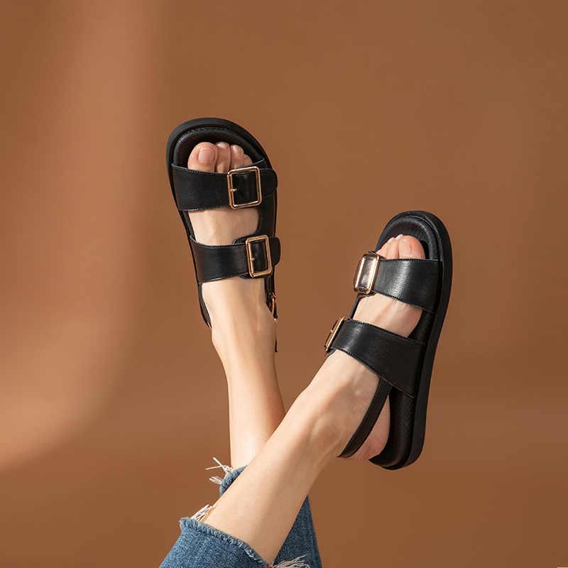 BeauToday Giày Sandal Nữ Da Bò Chính Hãng Kim Loại Chi Tiết Mắt Cá Chân Khóa Dây Đi Biển Mùa Hè Nữ Gót Thấp Giày Làm Bằng Tay 38128
