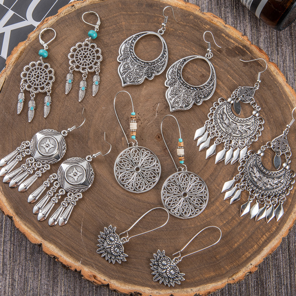 Ethnic Bohemian Bright Silver Color Big Drop <font><b>Dangle</b></font> Long Metal Fringes Tassel <font><b>Earring</b></font> Geometric <font><b>Earrings</b></font> for Women Party Jewelry image