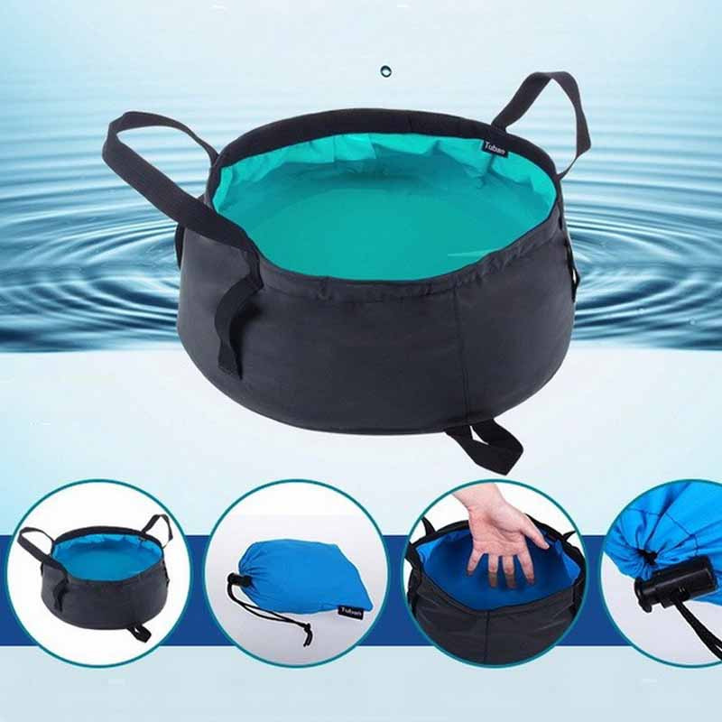 1pc 8.5L Outdoor Folding Buckets Multifuntion Camping Fishing Bucket Portable Water Pot Camping Travel Collapsible Storage Bags