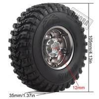 INJORA 4Pcs 1.9 Beadlock Wheel Rim Rubber Tire Set for 1/10 RC Crawler Traxxas TRX-4 Axial SCX10 90046 D90 Voodoo KLR 3