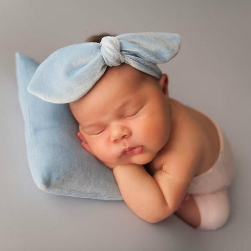 Newborn Photography Props Accessories Velvet Top Knot Bow Headband+Pillow Set Baby Posing Pillow Baby Photo Props Headwear