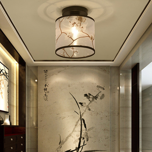Image 4 - Classic Japanese Led Ceiling Lamp Vintage Retro Suspension Luminaire Fabric Shade Surface Mount Chinese Ceiling Light Fixtures