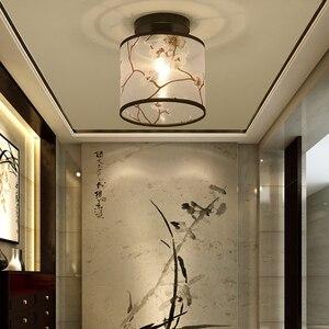 Image 4 - Klassischen Japanischen Led Decke Lampe Vintage Retro Suspension Leuchte Stoff Schatten Oberfläche Montieren Chinesische Decke Leuchten