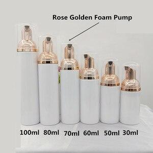 Image 2 - 10ps 30 60ml plástico foamer bomba garrafa rosto vazio cílios limpador cosmético garrafa dispensador de sabão espuma rosa espuma dourada
