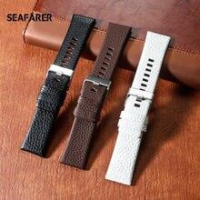 Pulseira de couro genuíno pulseira de relógio 22 24 26 27 28 30mm para relógios diesel dz4386 1657 1399 1206 4323 faixa preta