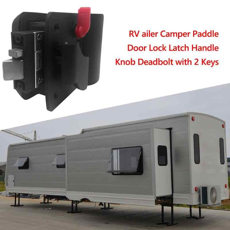 Camper Travel สีดำเข็มขัดพลาสติกเครื่องจักร RV ล็อคล็อคอลูมิเนียมล็อคเครื่องกลภายใน Anti-ล็อครถประตูล็อค