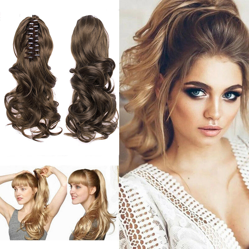 Clip-On Curly Ponytail Hair Extension Women Claw On Long Wavy Wig Hair Piece MH88
