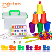 90PCS Counting Bears Sensory Toys Matching Sorting Cups Number Color Recognition Games Educational Toy Kids Montessori Toys new matching schemes for iris recognition