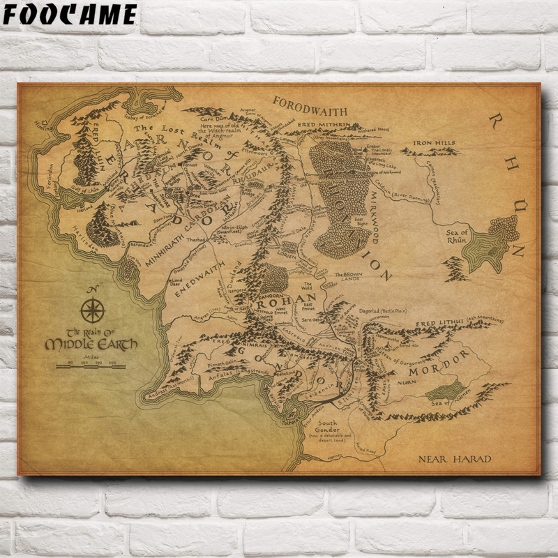 Lord of the rings map of middle earth poster print wall art decor gift merch