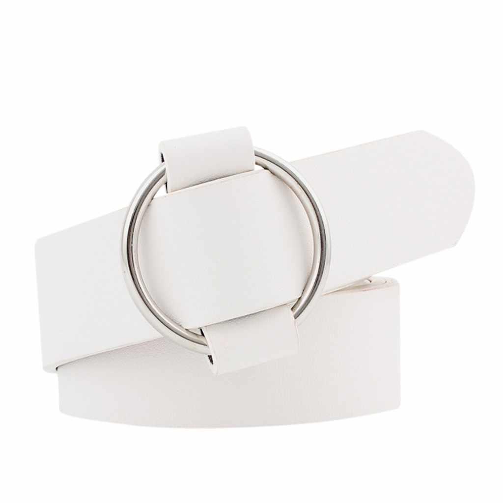 Cinturón informal con hebilla redonda sin aguja para mujer, cinturón ancho a la moda para jóvenes, cinturón vaquero, cinturón salvaje, cinturón de alta calidad para mujer