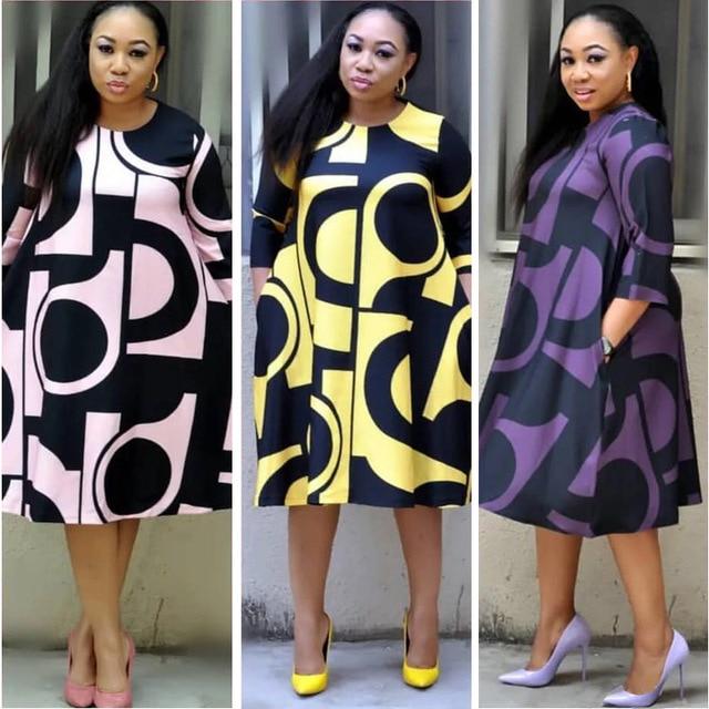 Plus-Size Dress Women Midi Winter O-Neck Polka Dot Print Long Section Ladies Office Gown Big Dresses 1