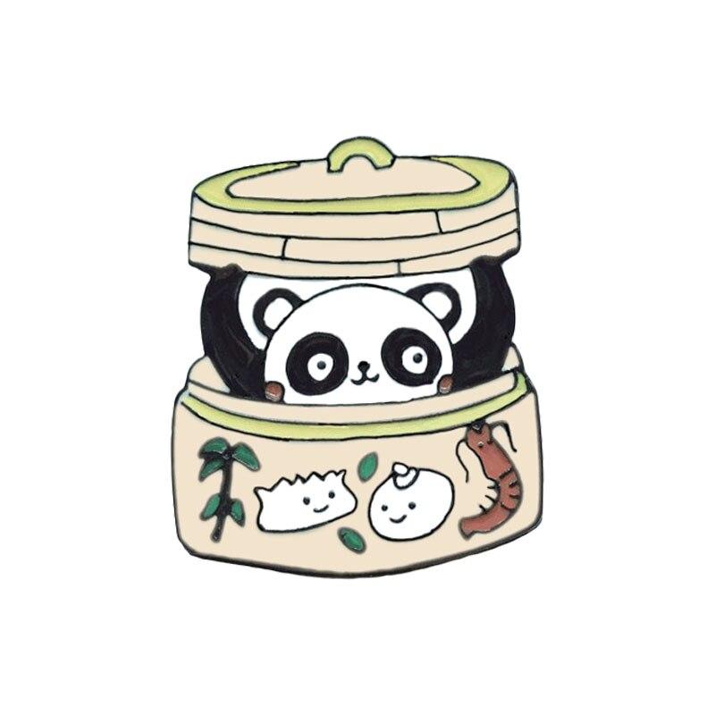 Булавка в виде животных из мультфильма голые медведи Милая гризли панда ледяной медведь джинсовые эмалированные булавки Kawaii нагрудные броши значки модные подарки - Окраска металла: XZ931