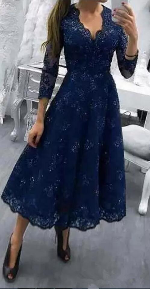 Navy Blue V-neck Lace Beads Evening Gown A-line Tea Length Mother Bride Dress