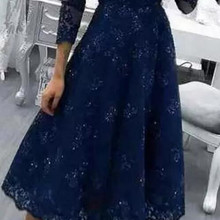 Navy Blue V-neck Lace Beads Evening Gown A-line Tea Length M