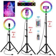 Lampe annulaire Led Rgb de 10 pouces, 16 couleurs, éclairage annulaire pour téléphone avec caméra à distance, Studio, grande taille, support 48 pouces, 160Cm, pour Youtuber