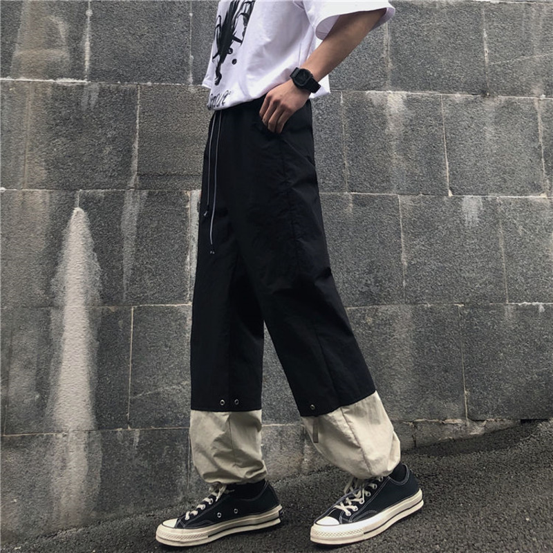 Spring Drawstring Straight Pants Men's Fashion Contrast Color Casual Pants Men Streetwear Wild Loose Hip Hop Trousers Mens