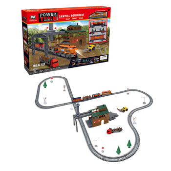 60Pcs 450cm Electric Track Light Small Train Carriages Train Set Children Toy Train with Logging Camp