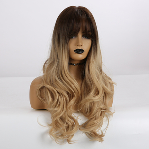Image 3 - ALAN EATON Long Wavy Hair Wigs with Bangs Ombre Black Dark Brown Gloden Blonde Synthetic Wigs for Black Women Heat Resistant Wig