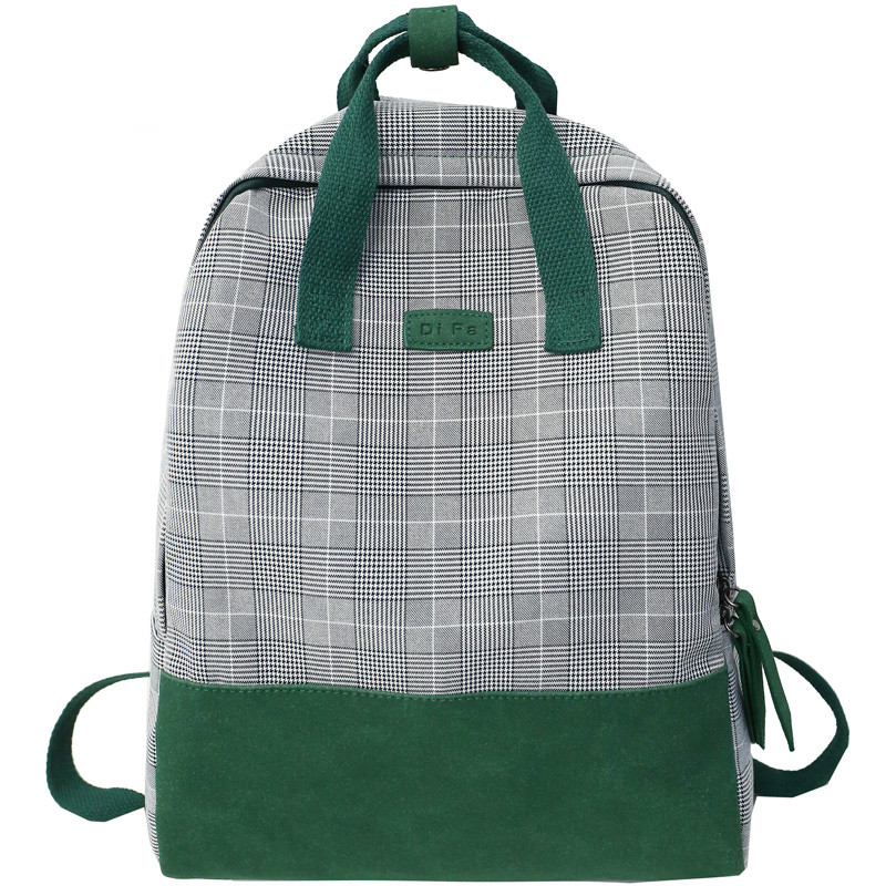 Classic Fashion Plaid Cotton With Frosted Leather Women Backpack Female Buckle Travel Bags For Teenage Girls Schoolbag Fresh