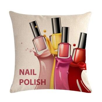 45 cm * 45 cm Flores pintadas a mano Botellas de lápiz labial Funda de cojín y funda de almohada de sofá Funda de almohada decorativa para el hogar ZY833 1