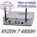 Topton Mini Computer 7nm AMD Ryzen 7 4800H 8 Core 16 Themen 8M Cache Nvme 2 * DDR4 nuc Gaming Desktop PC Win10 AX WiFi6
