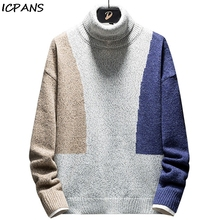 ICPANS Mens Turtleneck Sweater Cotton Polyester Korea Japanese Style Higt Turtle Neck  Pullovers Man 2019 Winter knitted